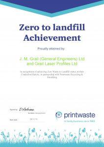 Zero to Landfill Achievement cert